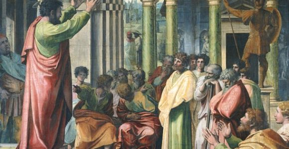 St-Paul-Preaching-in-Athens-Raphael-1515-Wikipedia-US-public-domain